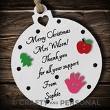 Personalised Teacher Christmas gift tree Bauble thank you present tutor mentor
