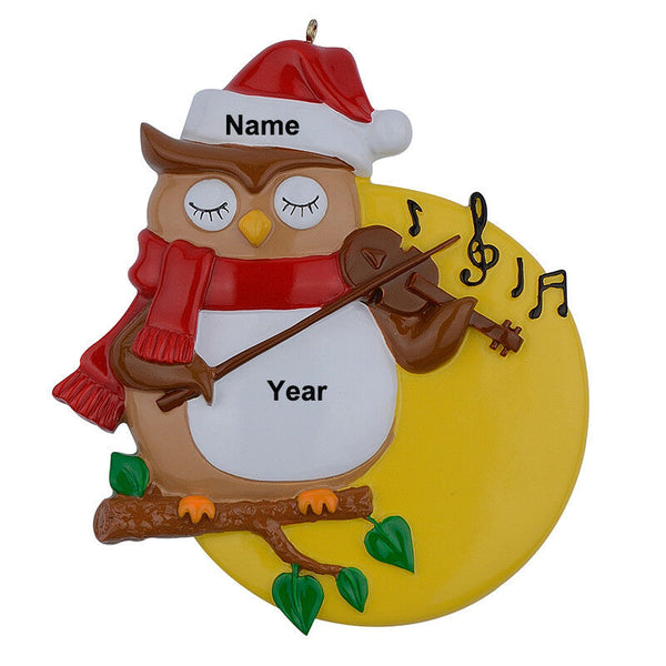 Resin Glossy Violin Owl Personalized Christmas Ornaments Holiday Keepsake Gifts