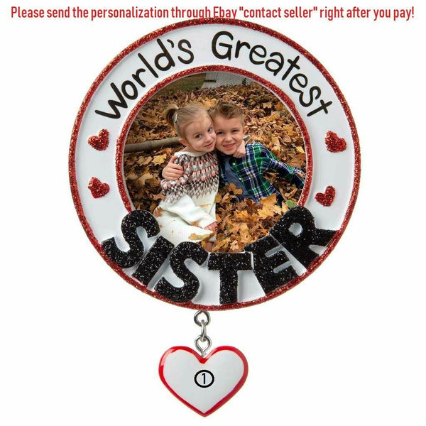 #1 WORLD'S GREATEST SISTER LITTLE GIRL FRAME PERSONALIZED CHRISTMAS ORNAMENT