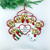 PERSONALIZED Bear Family Christmas Ornament, Family of 2, 3, 4, 5, 6, 7, 8, 9