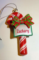 Ganz Candy Cane Christmas Ornament Bow Personalized Red Silver Choose Name NWT