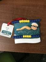 Swimmer in Pool Personalized Christmas Tree Ornaments/ Original Bag