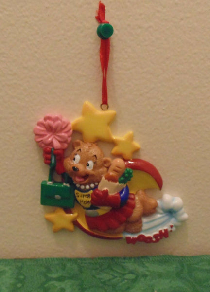 """Super Mom"" Bear Personalized Christmas Tree Ornament Holiday Gift"