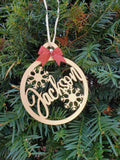 Christmas Tree Ornaments Personalized - Wooden Name Ornaments Gold or Silver Wit