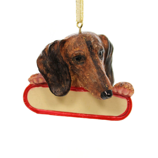 Personalized Ornaments RED DACHSHUND Polyresin Weiner Dog Puppy Christmas 21813