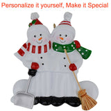 MAXORA Sweeping Snowman Family of 2 3 4 5 6 Personalized Christmas Ornaments