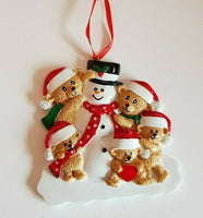 Personalised Christmas Tree Decoration Bears & Snowman Family size 3 & 5 & 6
