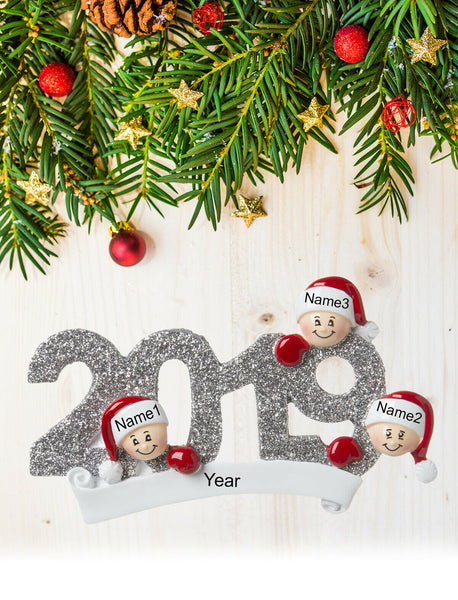 Personalized Christmas Tree Ornament Gift, Year 2019 for Family of 2-3-4-5-6