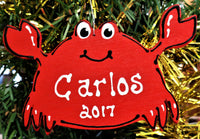 CRAB CHRISTMAS Ornament U CHOOSE NAME & YEAR Personalized Name Holiday Beach