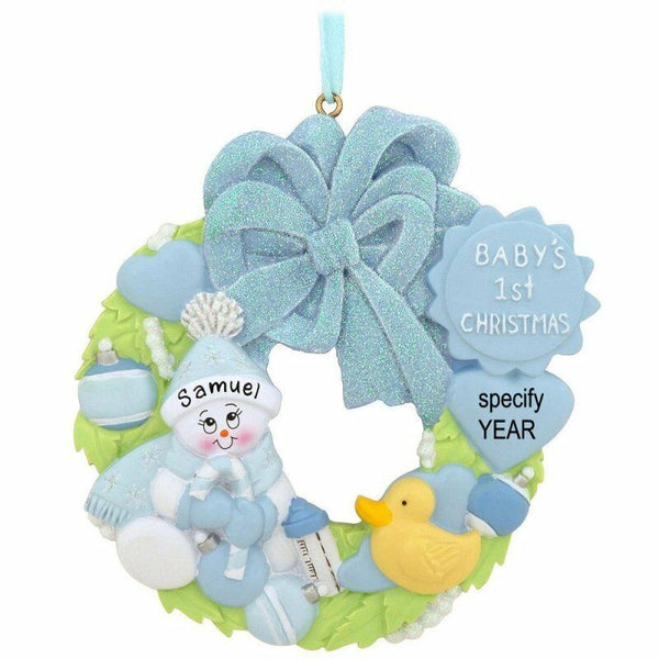 Baby Wreath Blue Boy Personalized Christmas Tree Ornament