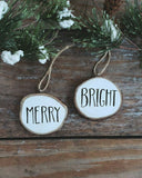 Personalized Christmas Ornaments Set/2 Merry & Bright Custom Painted Wood Slice