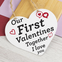 First Valentines Hanging Sign Gift Girlfriend Boyfriend For Him Her Love You