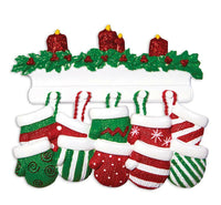 Red & Green Mitten Family of 2 3 4 5 6 7 8 9 10 11 12 Personalized Christmas Orn