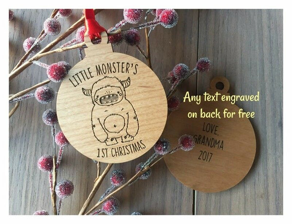 Little Monster's First Christmas Ornament - Personalized Laser Engraved