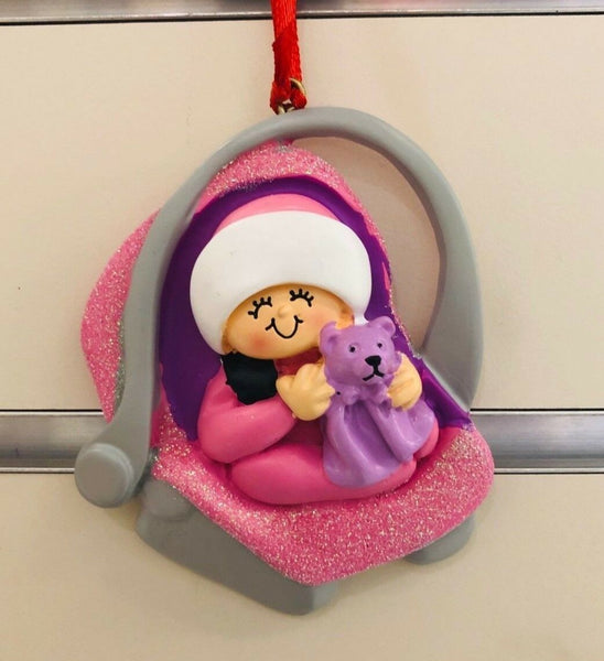 Personalized Christmas Tree Ornament Cute Baby Pink Baby's 1st Christmas