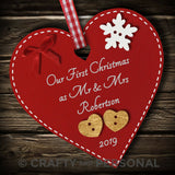 Personalised Our First 1st Christmas as Mr & Mrs Bauble Heart tree couple gift
