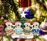 Personalized Christmas Tree Ornament Holiday Gift, Penguins Family of 2-3-4-5-6