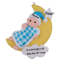 Personalized 2019 Baby's 1st Christmas Ornament Blue Boy Christmas/Birthday Gift