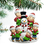 Personalized Family Christmas Ornament Building Snowman Family of 2 3 4 5 6