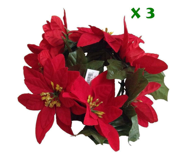 (3 PC) Poinsettia Christmas Decoration Holiday Candle Table Ornament Festival US