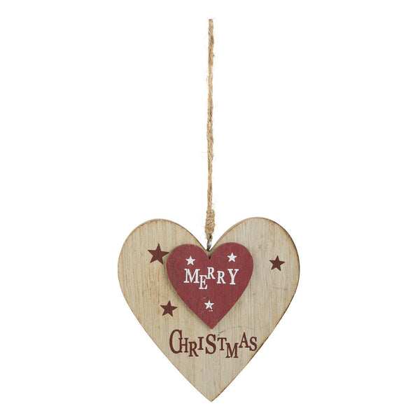 """MERRY CHRISTMAS"" - HANGING TREE DECORATION - RUSTIC WOOD FINISH - SHABBY CHIC"