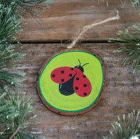 Christmas Ornament Ladybug Personalized Hand Painted Wood Slice with Gift Box