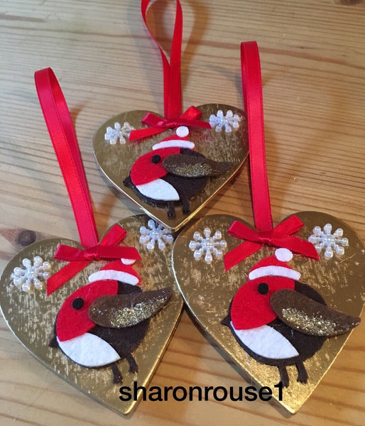 1 X Handmade Robin Christmas Hanging Decorations With Snowflakes Gold Red