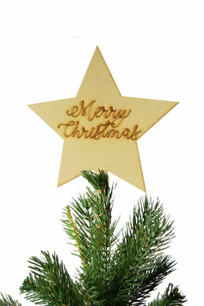 'Merry Christmas' Star Christmas Tree Topper Wooden Decoration Ornament MDF