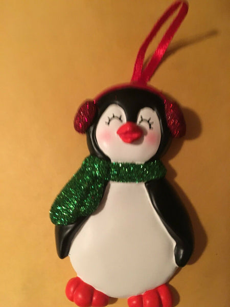 Girl Penguin Christmas Tree Ornament Personalized Holiday Gift New
