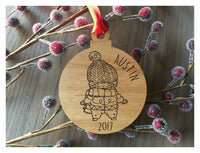 Cute Boy with Scarf Christmas Ornament - Personalized Laser Engraved