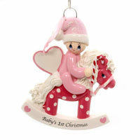 Rocking Pony Pink Personalized Christmas Tree Ornament