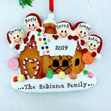 NAME PERSONALIZED Gingerbread House Christmas Ornament, Family of 2, 3, 4, 5