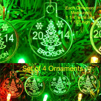 Christmas Tree Ornaments Name/Yr Mini Miniature Personalized Acrylic Set of 4