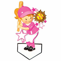 Sports SOFTBALL Player Personalized Christmas Tree Ornament