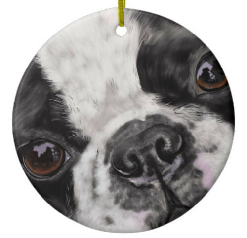 Boston Terrier Dog Ornament - Personalize with Name - Great as Christmas Gift!