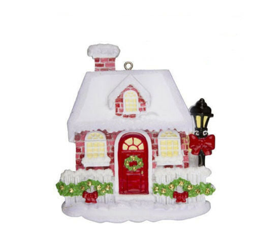 Red Brick House Personalized Christmas Tree Ornament