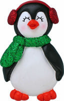 Penguin with Female Name Mia Personalized Christmas Tree Ornament