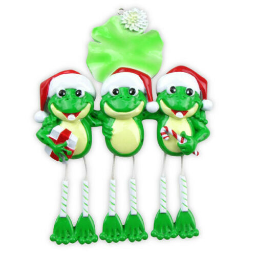 Frog Dangle Family of 1 2 3 4 5 6 Personalized Christmas Ornament