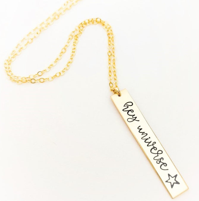 Hey Universe Vertical Bar Necklace