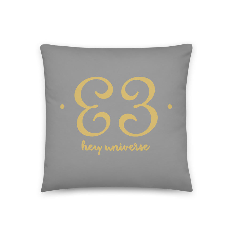 Hey Universe Grey & Gold Pillow