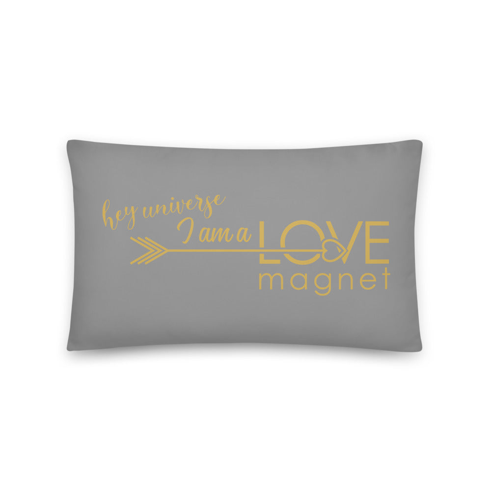 I am a Love Magnet Grey & Gold Pillow