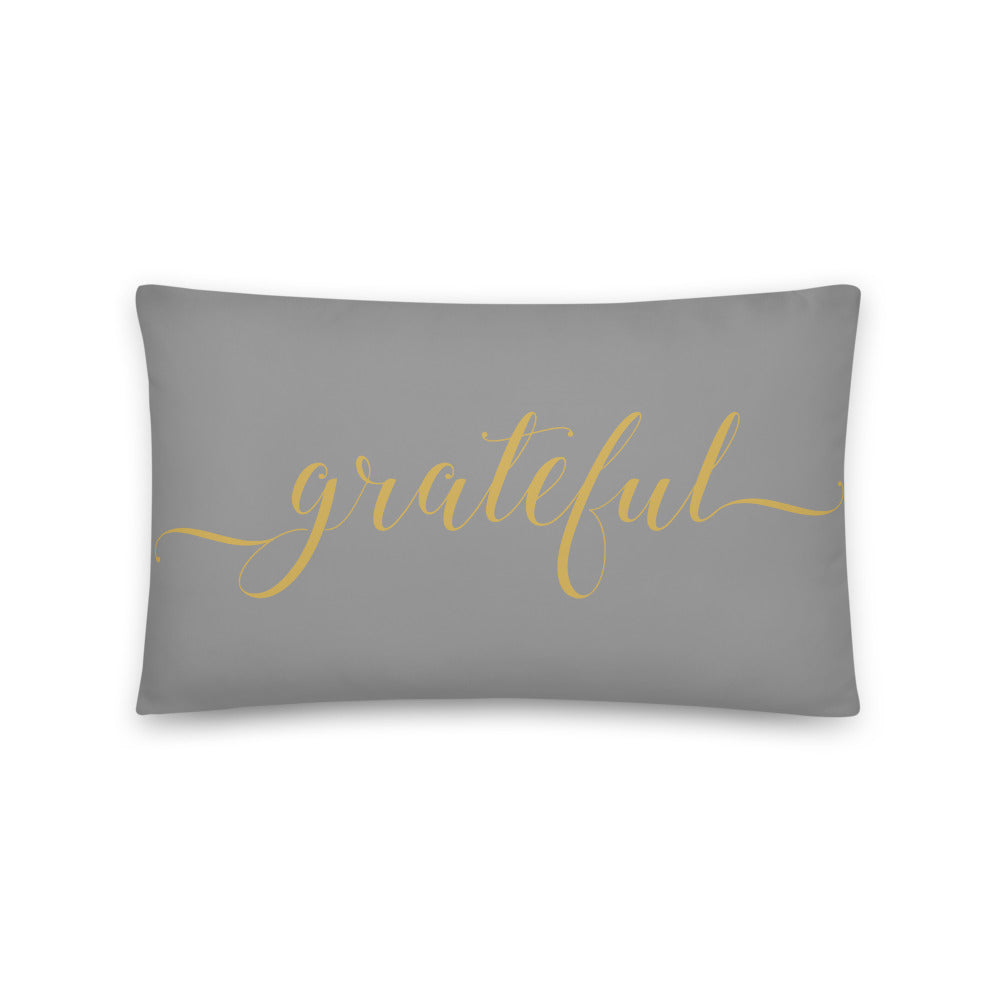 Grateful Grey & Gold Pillow
