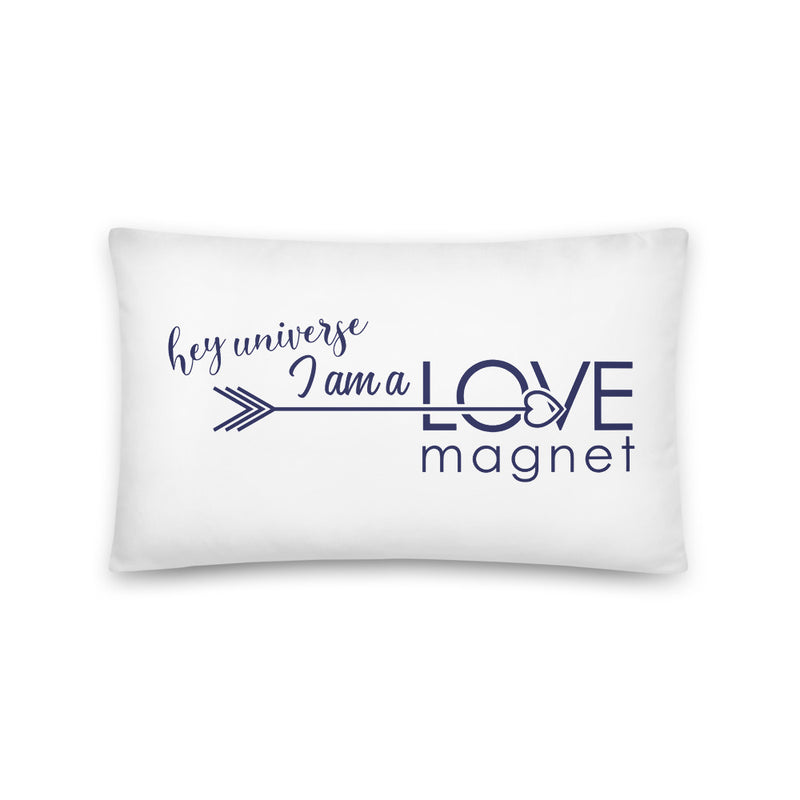 Love Magnet White & Navy Pillow