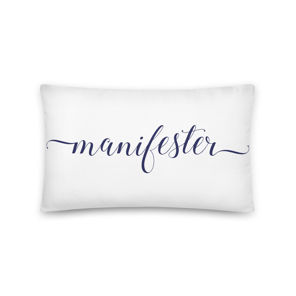 Manifester White & Navy Pillow