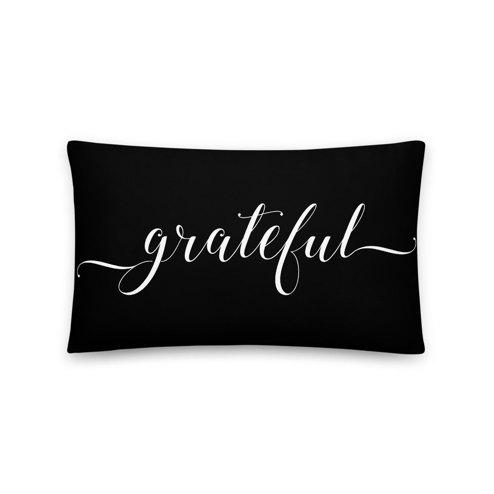 Grateful Black & White Pillow