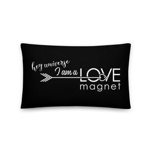 I am a Love Magnet Black & White Pillow