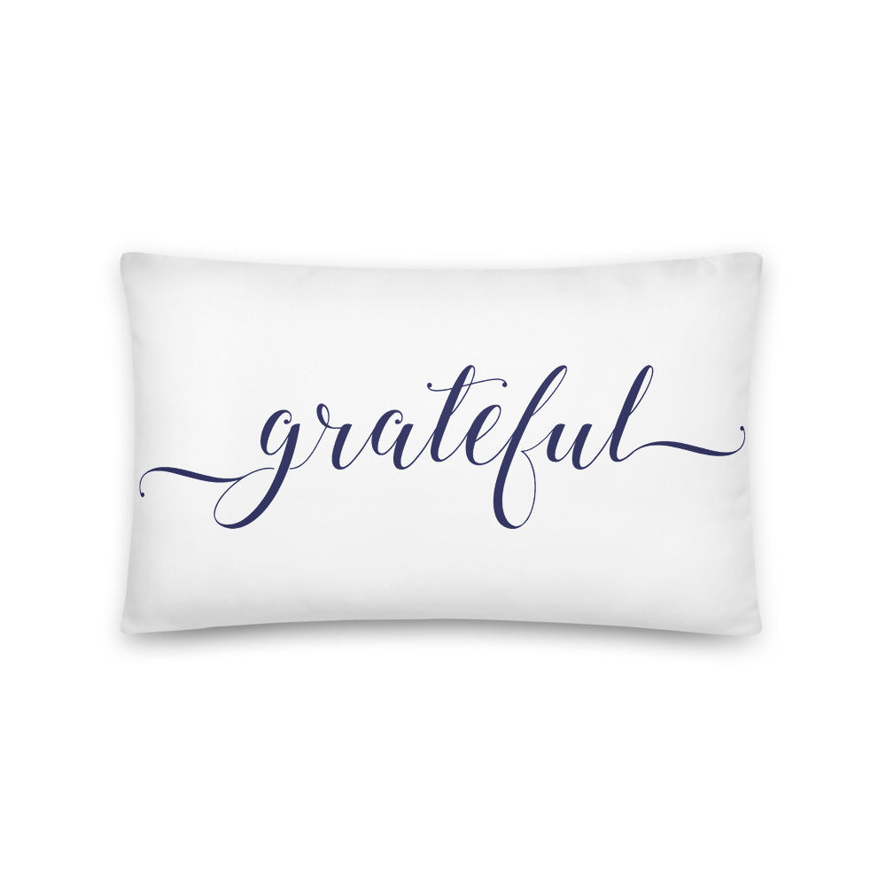 Grateful White & Navy Pillow