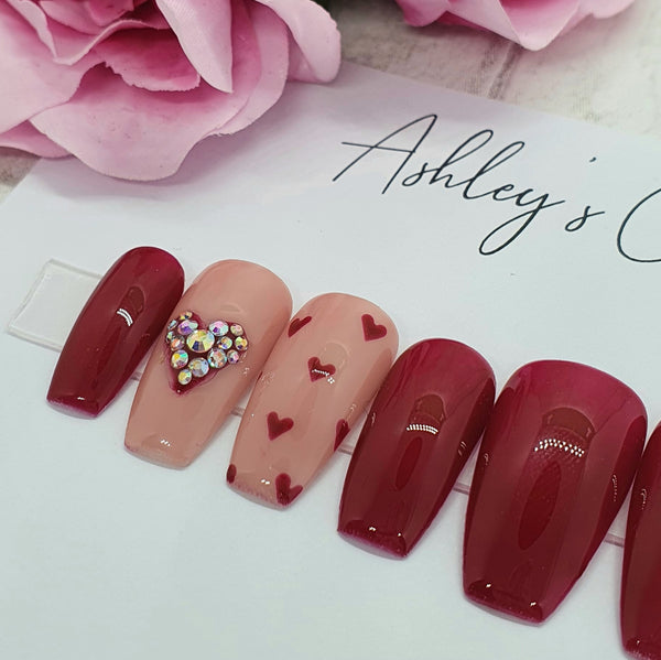 Hearts with nude/red