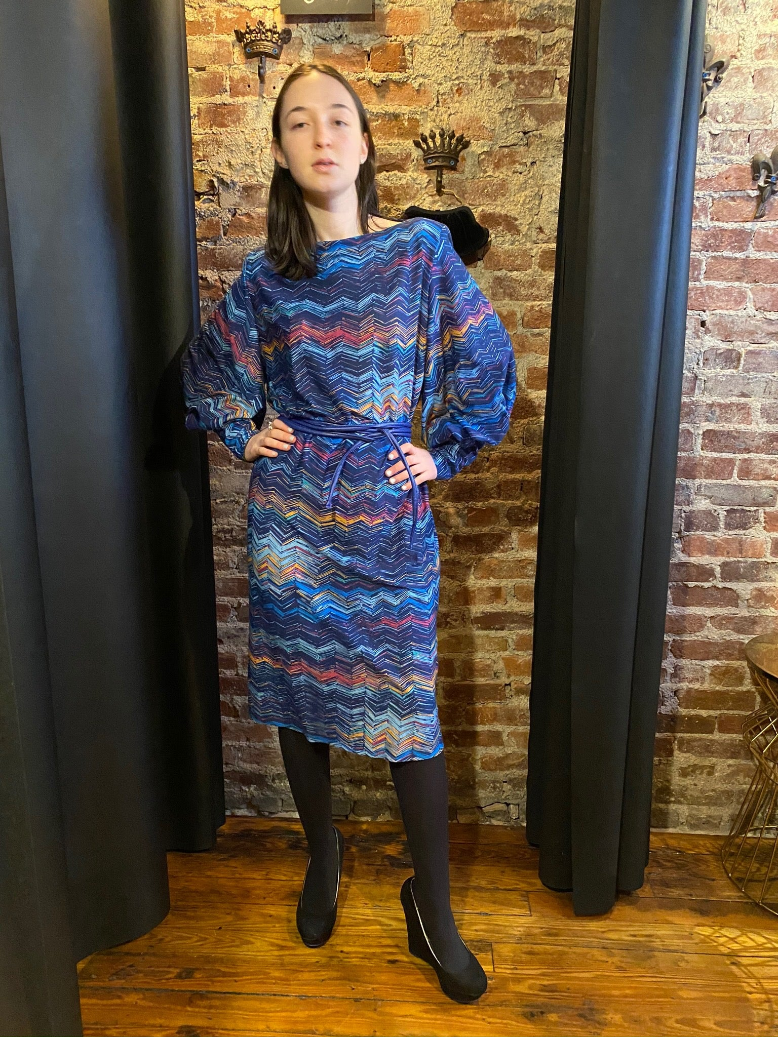 Blue zig zag dress
