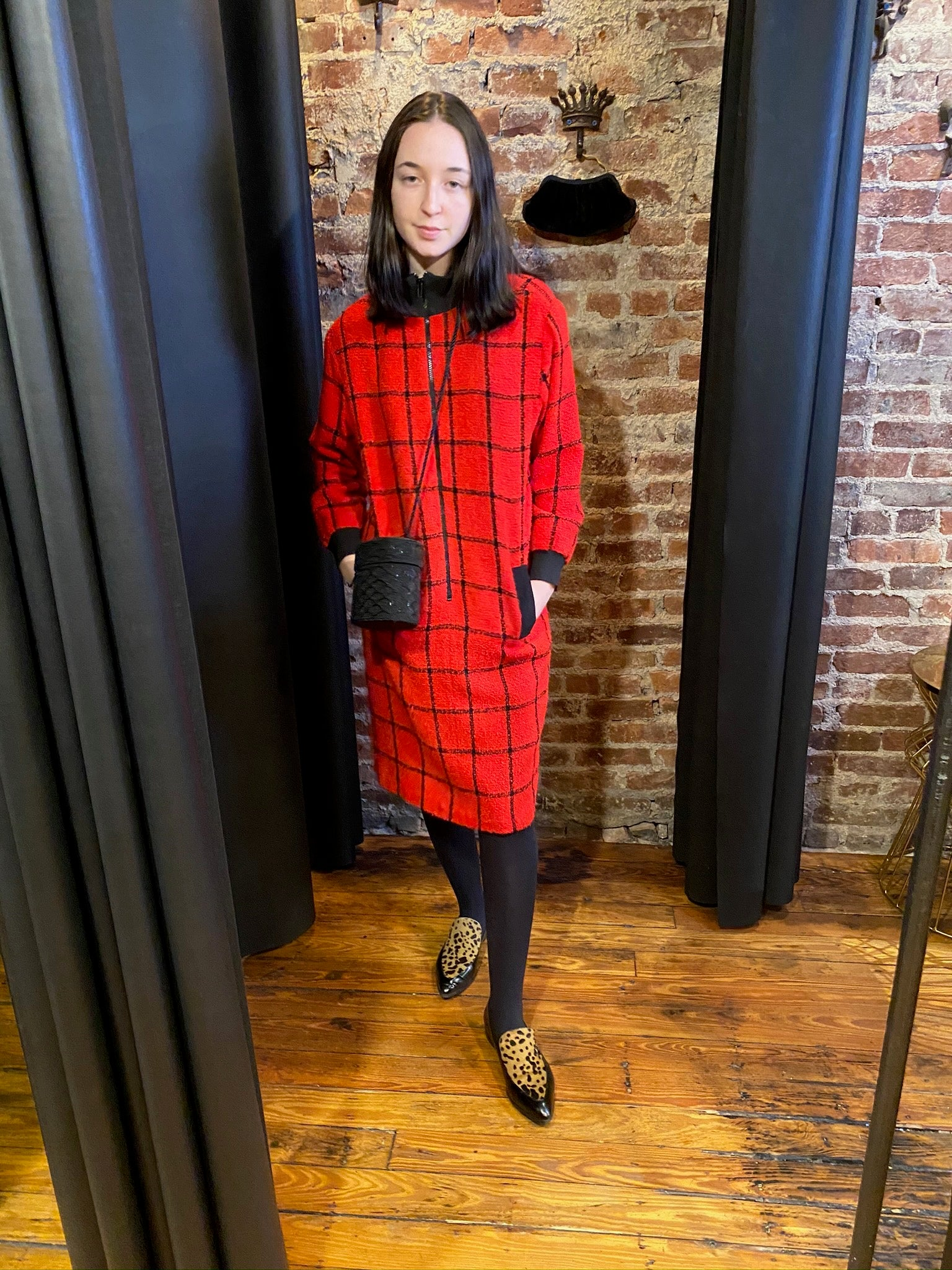 Window pane red bomber dress